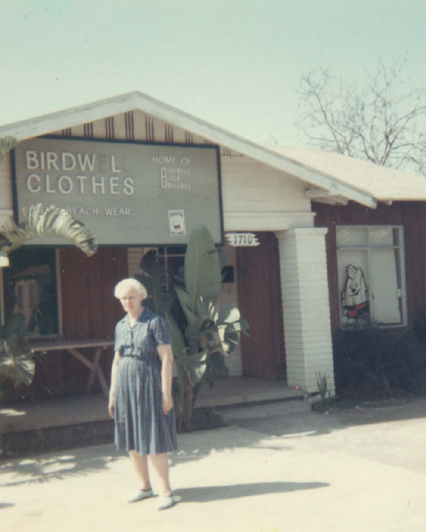 Board short inventor Carrie Birdwell Mann outside of her store.